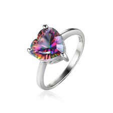 HEART 2.6ct Genuine Fire Rainbow Topaz Ring Solid 925 Sterling Silver For Ladies