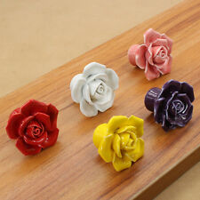 Hot Ceramic Knobs Pull Drawer Cupboard Rose New Colorful Handles Door Cabinet