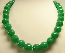 """Long 18"""" 25"""" 36"""" 50"""" 6mm 8mm 10mm 12mm 14mm Green Jade Round Beads Necklace AAA+"""