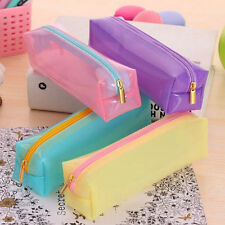 Student Plastic Pen Bag Pencil Case Travel Makeup Cosmetic Bag Stationery New US