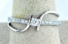 Modern 14k Solid White Gold .25 ct Simulated Diamond Promise/Engagement Ring