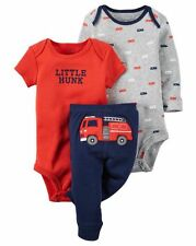 New Carter's 3 Piece Red Fire Truck Bodysuits Pant Set NWT NB 6m 9m 12m 18m 24m