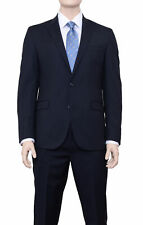 Kenneth Cole Ny Slim Fit Navy Pinstriped Two Button Wool Suit With Peak Lapels