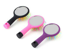 Hot Rainbow Volume Anti-static Curl Straight Comb Brush+Mirror Hair Styling Tool