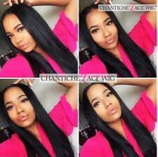 Front Lace Wigs Black Women Silky Straight Indian Remy Human Hair Full Lace Wig