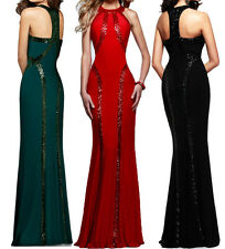 Sexy womens Red Long Sleeve Velvet club party cocktail Evening Gown maxi dress