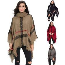 New Women Knitted Poncho Cape Coat Tassel Shawl Pullover Cloak Sweater XMAS K6I3