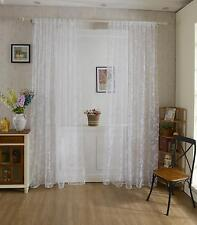 Flocking Butterfly Sheer Curtain Panel Window Room Tulle Drape Valance Divider