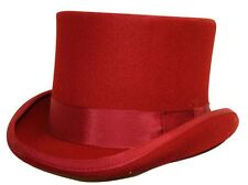 Quality Red Wool Felt Top Hat Satin lined  4 sizes FREE  fast post 1st class.