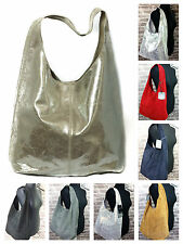 Ladies New Real Italian Suede Large Leather Slouch Hobo Shoulder Tote Handbag