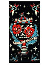 Sourpuss Time For An Adventure Beach Black Towel 74x142cm