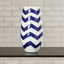 "Modern Tall Floor And Table Decorative Ceramic Vase 15.75"" Or 19.75"" Blue White"