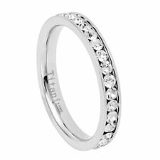 3mm Titanium Band White IP Plated Eternity Ring Cubic Zirconia CZs