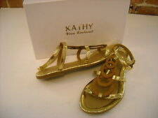 Kathy Van Zeeland Jerry Gold Circle Design Gladiator Sandal NEW