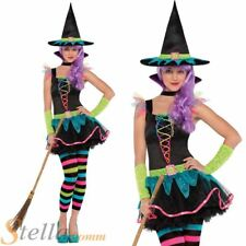 Girls Teen Neon Witch Costume Child Halloween Fancy Dress Outfit Ages 10-16