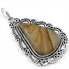 925 Sterling Silver Plated Pendant Genuine Picture Jasper Stylish cg36972