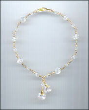 Beautiful 14k Gold Filled Charm Anklet w/ Swarovski CLEAR Crystal Hearts