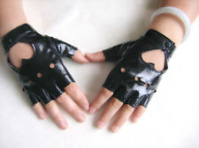 Pop Women Punk Leather Driving Biker Fingerless Mittens Dance Motorcycle Gloves