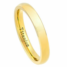Men 3mm Titanium Wedding Band Domed Engagement Ring Polished Yellow Gold Plated