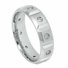 Men's 6mm Titanium Wedding Band White IP Brushed Notches Cubic Zirconia CZs