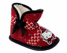 NEW GIRLS HELLO KITTY RED FULLY FUR LINED PULL ON BOOTIES SLIPPERS UK SIZE 6-12