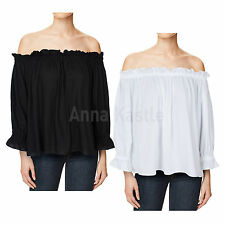AnnaKastle New Womens Off Shoulder Solid Crop Top Ruffles Blouse sz S - M