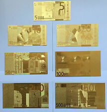 5,10,20,50,100,200,500 Euro Bank Training 7pcs 24K Gold Foil Paper Money  .04