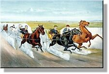 Vintage Horse Race Picture on Stretched Canvas, Wall Art Decor, Ready to Hang!