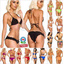 COQUETA Bathing Suit BOTTOM + TOP SET Swimwear Sexy Scrunch Women BIKINI Waved