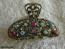 """1 NEW GOLD TONE VINTAGE STYLE METAL HAIR CLIP / COMB / 2 """"/ MULTI COLOR STONE"""
