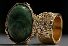 GREEN MARBLE SWIRL KNUCKLE ART RING GOLD WOMAN VINTAGE ARTY CHUNKY STATEMENT