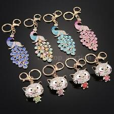 Rhinestone Crystal Charm /Cat Purse Bag Key Ring Chain Keychain Gift Y5K5