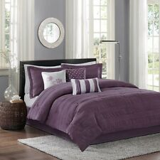 7pc Modern Plum Purple Comforter Set Shams Bed Skirt AND  Pillows
