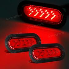 "2) 6"" Oval Red Stop Tail Turn Signal Light 25LED Arrow Flange Mount Trailer 12V"
