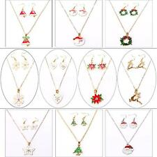 1Set Women Jewelry Christmas Theme Pendant Necklace Earrings gifts 10 Style B6A5
