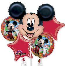 Five Balloon Mickey Mouse Birthday Balloon Bouquet Mylar Foil Balloons