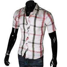 Mens Slim Fit Sexy Button Down plaids Formal Casual  Shirts T-Shirt Short Sleeve