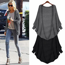Womens Loose Batwing Cardigan Woolen Sweater Coat Casual Poncho Tops Wrap Jacket