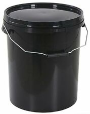 10 x 20 Litre Black Plastic Bucket with Lid and Handle