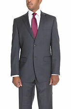 Donald Trump Classic Fit Charcoal Gray Striped Two Button Wool Suit