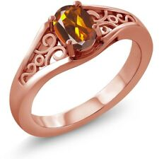 0.40 Ct Oval Orange Red Madeira Citrine 18K Rose Gold Plated Silver Ring