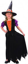 GIRLS PRETTY WITCH FAIRY TALE HALLOWEEN COSTUME FANCY DRESS OUTFIT & HAT 4-6-8