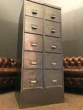 LARGE VINTAGE INDUSTRIAL STRIPPED 10 DRAWER METAL FILING CABINET WITH KEY