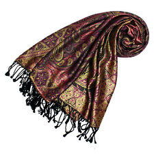 78117 LORENZO CANA Authentic Italian Scarf Silk Wool Brown Purple Gold Paisley