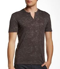 John Varvatos Star USA Men's Burnout Eyelet Henley Shirt Taupe $98 msrp NWT