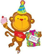 "49""  Birthday Monkey Mylar Foil Balloon"