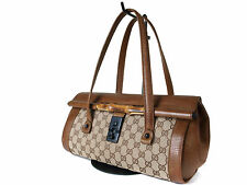 Authentic GUCCI GG Pattern Bamboo Canvas Browns Shoulder Bag GS13213L