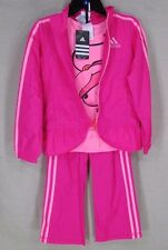 ADIDAS Youth Girl's Athletic Performance 3 PC Set Jacket Pants Shirt Pink 6 NEW