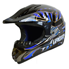 Youth PGR X25 SPARK BLACK Blue Motocross Dirt Bike Off Road MX BMX DOT Helmet