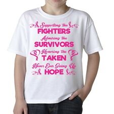Supporting The Fighters Survivor Breast Cancer Awareness Kids Youth Tee T Shirt
